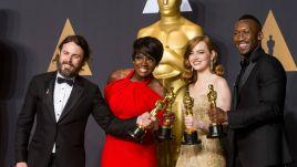 Wielka aktorska czwórka wygranych: Mahershala Ali, Emma Stone, Viola Davis i Casey Affleck (fot. PAP)