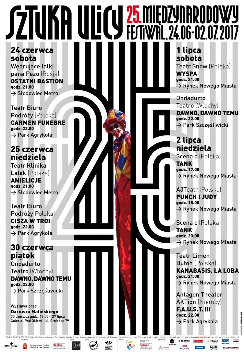 25. Międzynarodowy Festiwal Sztuka Ulicy w Warszawie, 24 czerwca – 2 lipca 2017