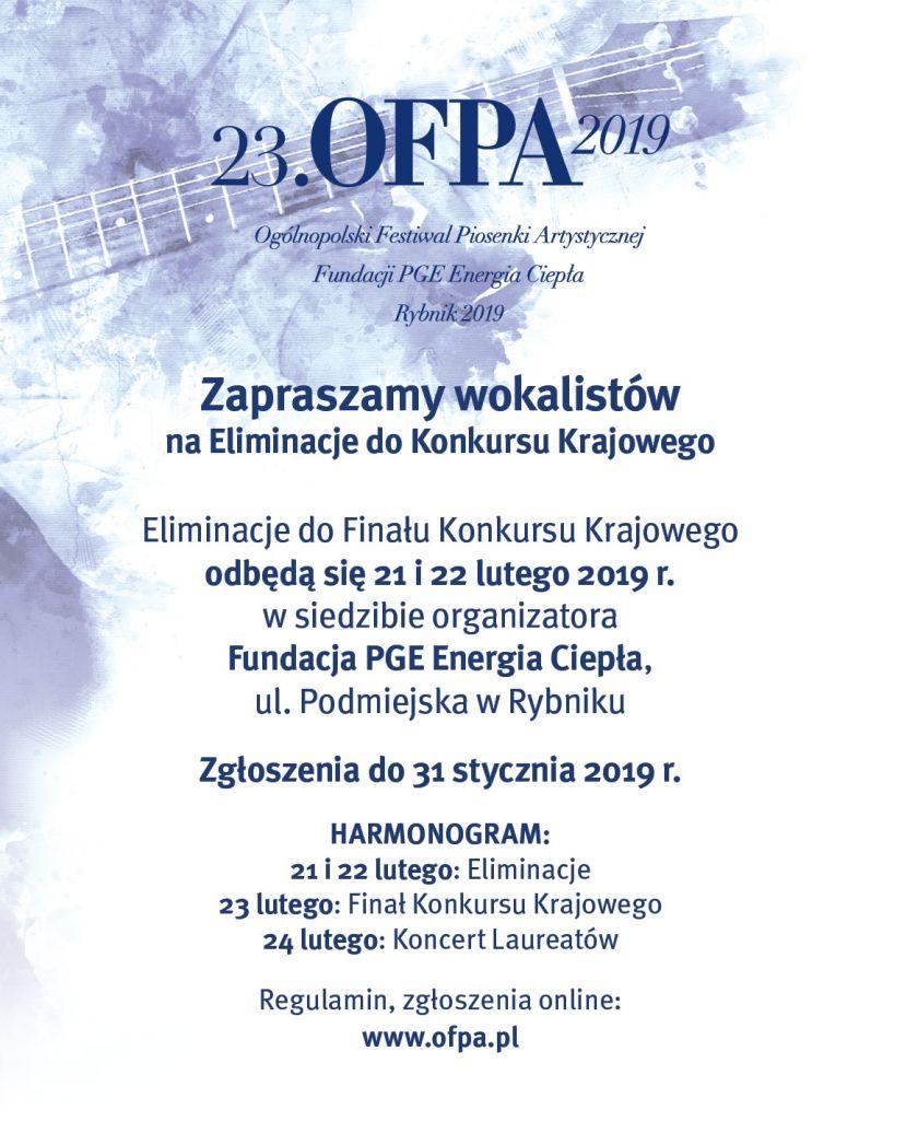 23. Ogólnopolski Festiwal Piosenki Artystycznej ELIMINACJE