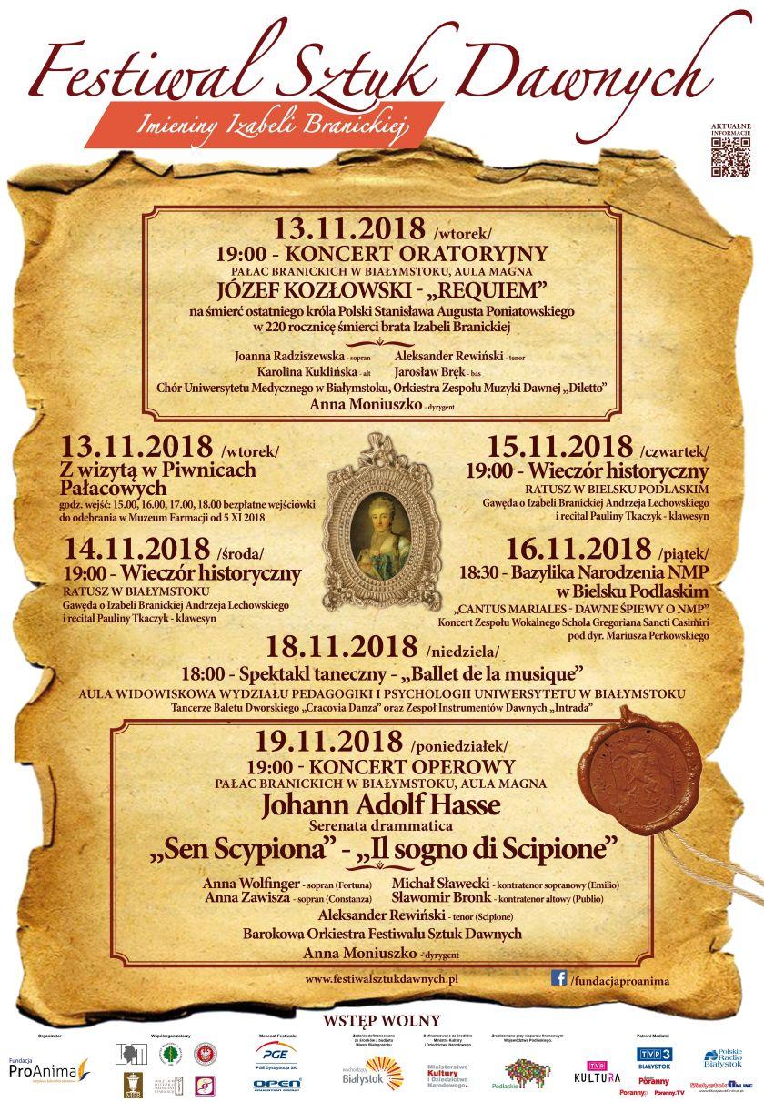 Festiwal Sztuk Dawnych - Imieniny Izabeli Branickiej 2018