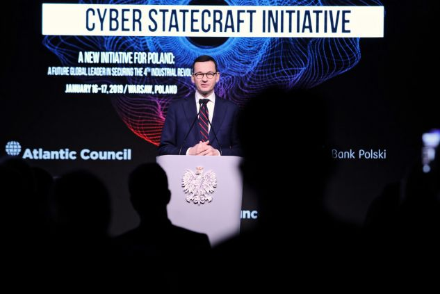 "Premier Mateusz Morawiecki podczas w konferencji ""A New Initiative for Poland: A Future Global Leader in Securing the 4th Industrial Revolution"" (fot. PAP/Leszek Szymański)"