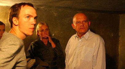Od lewej: reżyser Jan Komasa, Kinga Preis i Adam Ferency na planie zdjęciowym (fot. Tomasz Żukowski, TVP)