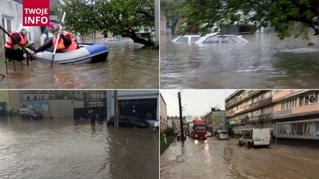 """Potężna ulewa nad Brzezinami. """"Zalało przedszkola, szkoły, banki, sklepy. Woda sięgała pierwszego piętra"""""""
