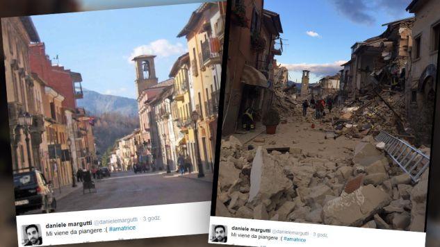 Tak wygląda miejscowość Amatrice, w regionie Lacjum (fot. twitter.com/daniele margutti)