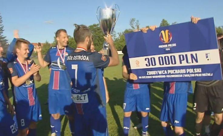 Sokół Ostróda świętuje zwycięstwo w finale wojewódzkiego Pucharu Polski
