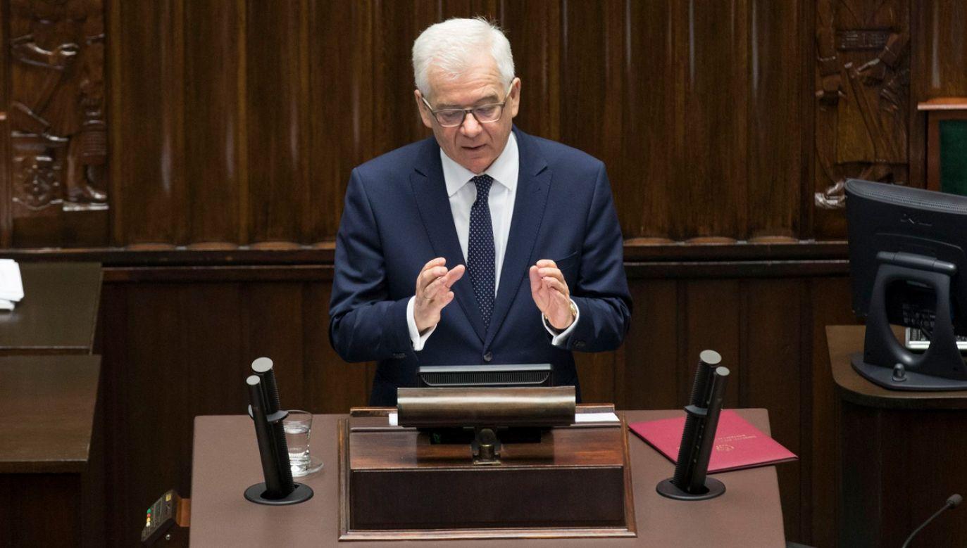 Minister spraw zagranicznych Jacek Czaputowicz podczas konferencji prasowej po expose dotyczącym polityki zagranicznej rządu w 2018 roku (fot. fb/Kancelaria Premiera)