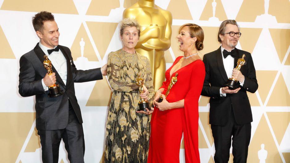 Laureaci 90. edycji nagród Amerykańskiej Akademii Filmowej: Sam Rockwell, Frances McDormand, Allison Janney i Gary Oldman (fot. REUTERS/Mike Blake)
