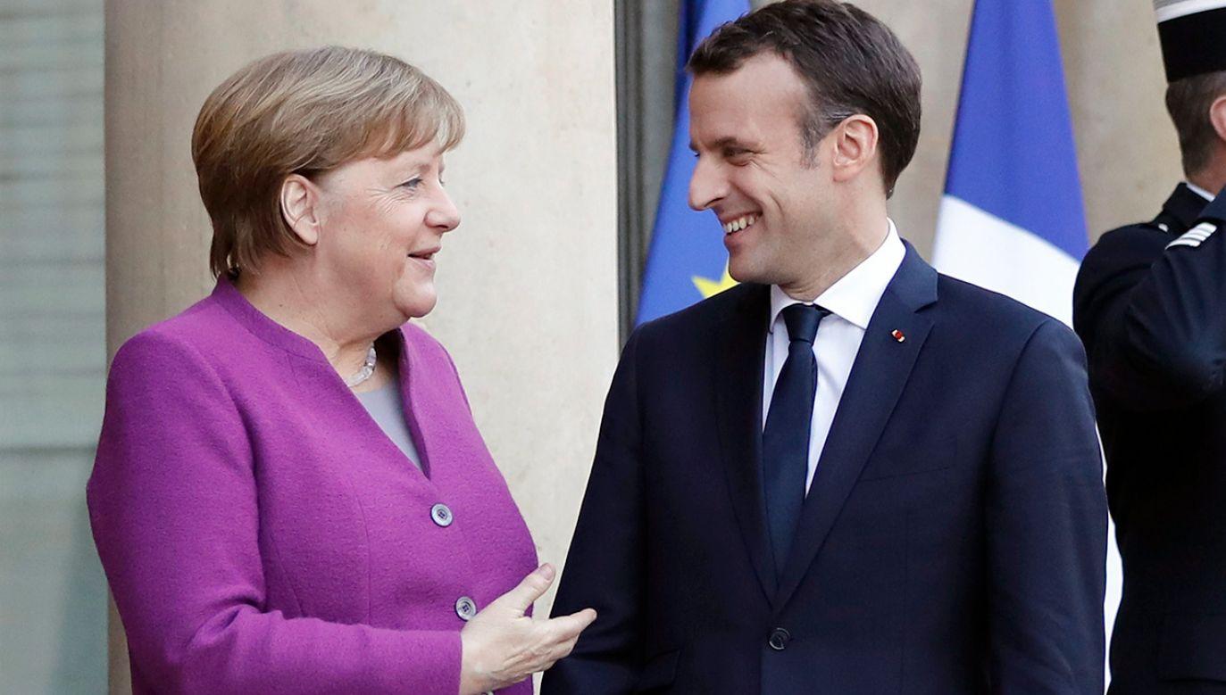 Kanclerz Niemiec Angela Merkel i Prezydent Francji Emmanuele Macron (fot. PAP/ EPA/ETIENNE LAURENT)