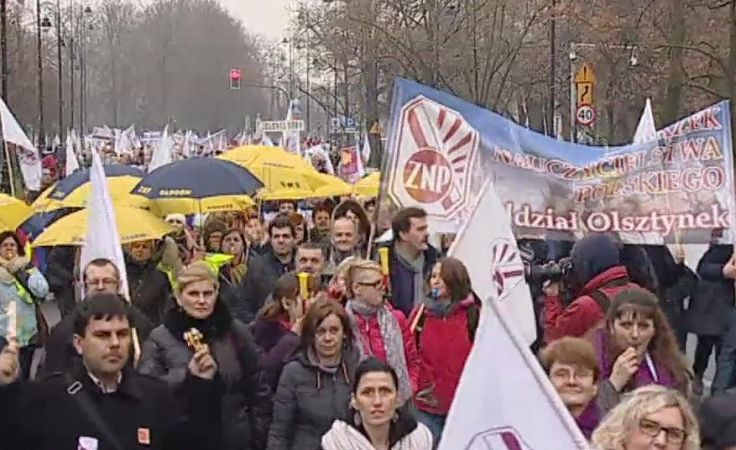 Nauczyciele dzień przed protestem.