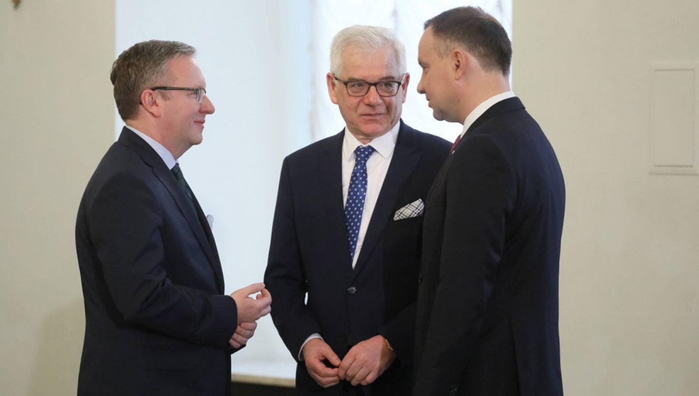 Ministrowie Krzysztof Szczerski, Jacek Czaputowicz i prezydent Andrzej Duda (fot arch.PAP/Paweł Supernak)