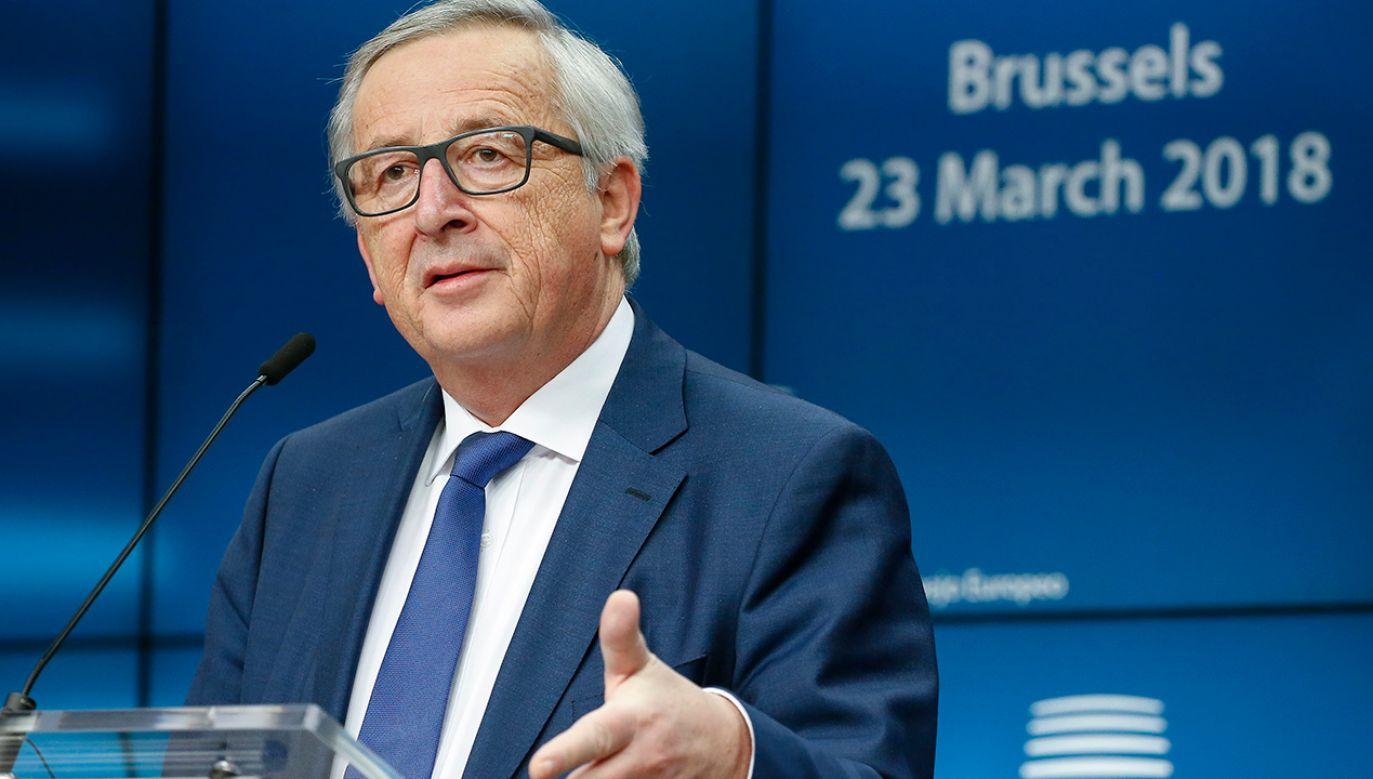 Szef Komisji Europejskiej Jean Claude Juncker (fot. PAP/ EPA/JULIEN WARNAND)