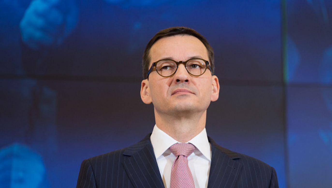 """Premier Mateusz Morawiecki udzielił wywiadu gazecie """"Die Welt""""  (fot. Mateusz Wlodarczyk/NurPhoto via Getty Images))"""