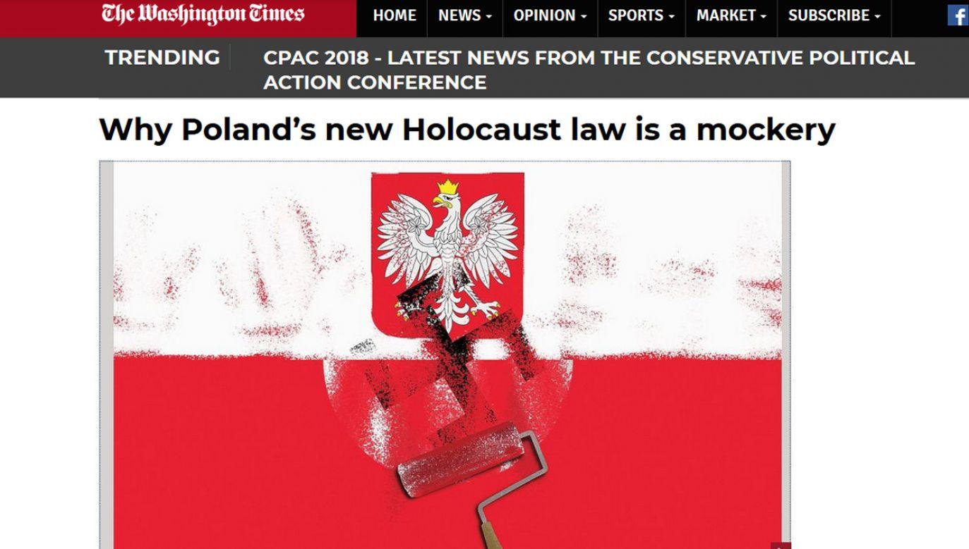 Tekst opatrzono grafiką ukazującą polską flagę i godło, nad którymi widnieje symbol swastyki (fot. Materiały prasowe)