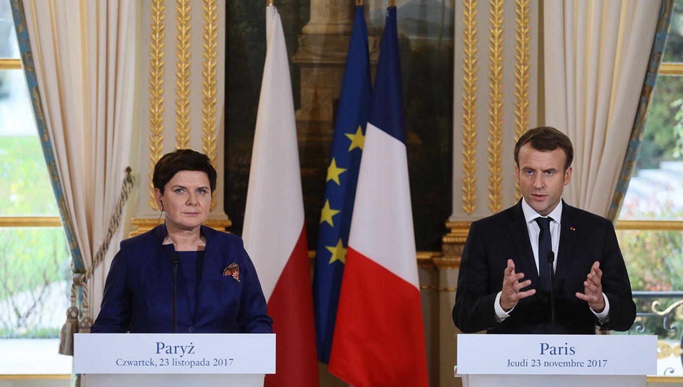 Premier Beata Szydło i prezydent Francji Emmanuel Macron podczas konferencji prasowej po spotkaniu w Paryżu (fot. PAP/Paweł Supernak)