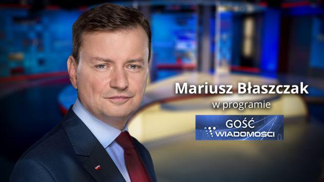 Mariusz Błaszczak wieczorem w TVP Info (fot. graf. tvp.info)
