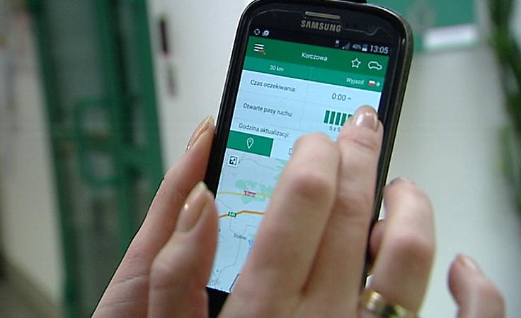 Informacje o kolejkach na granicy na smartfonach i tabletach