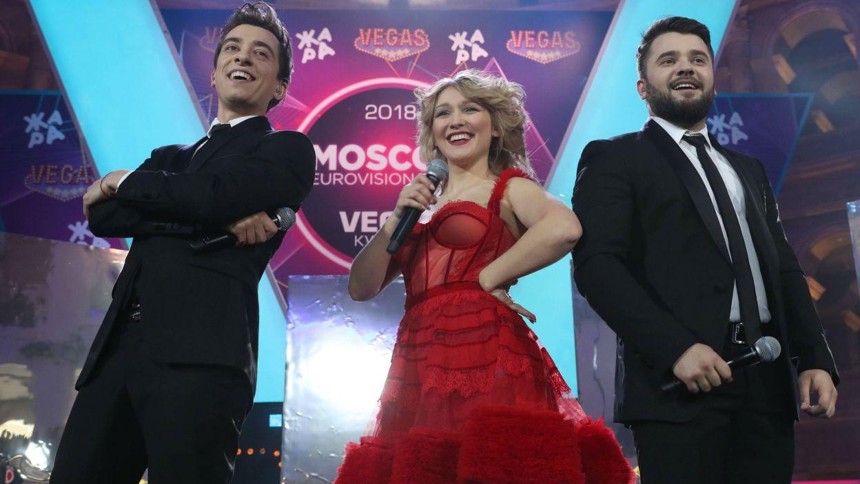 Mołdawia: DoReDoS to trio folkowo-popowe, w skład którego wchodzą: Marina Djundiet, Eugeniu Andrianov i Sergiu Mîţa (fot. PAP)