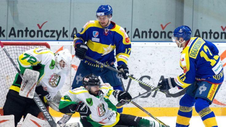 TatrySki Podhale Nowy Targ - JKH GKS Jastrzębie 3:2 (1:0, 0:1, 1:0 - 0:0, karne 2-1), (fot. PAP/Andrzej Grygiel )