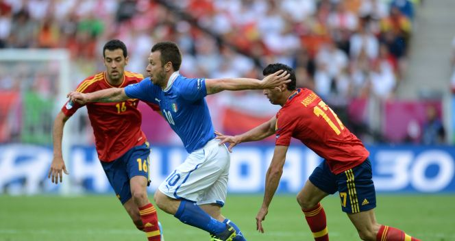 Sergio Busquets, Antonio Cassano i Alvaro Arbeloa (fot. Getty Images)