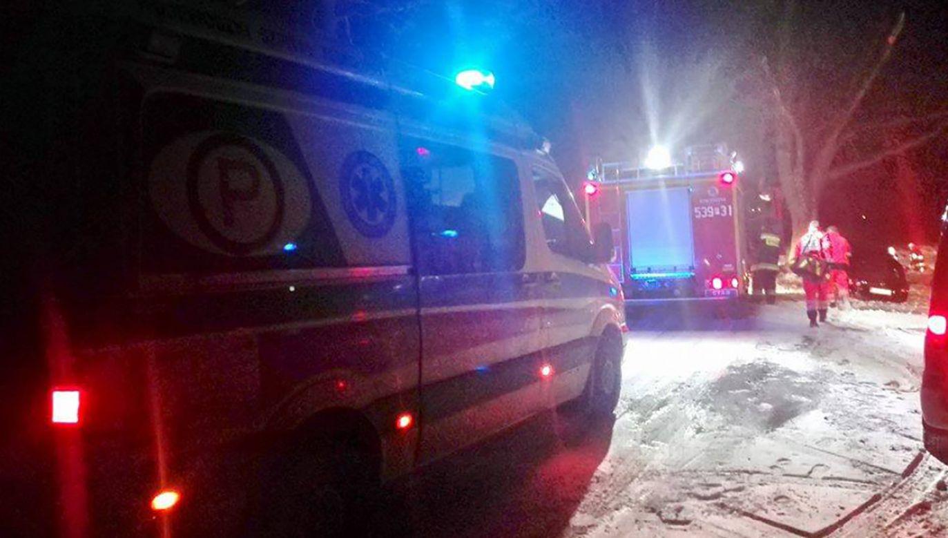 17 marca w sobotę w miejscowości Skalmierzyce (pow. ostrowski) w czteroosobową rodzinę podczas spaceru uderzył nissan qashqai (fot. fb/@infoskalmierzyce)