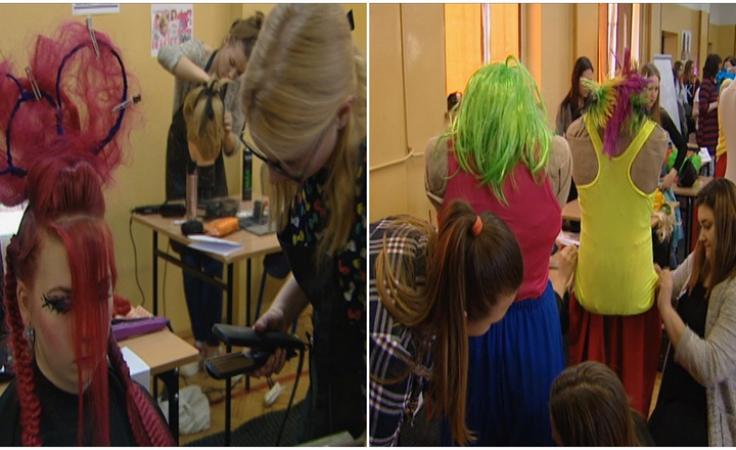 Loki z lat 80. Uczniowie konkurowali w turnieju fryzjerskim