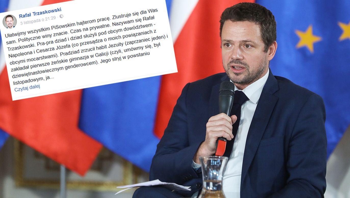 Rafał Trzaskowski pisze w mediach społecznościowych o swojej rodzinie (fot. PAP/Rafał Guz)