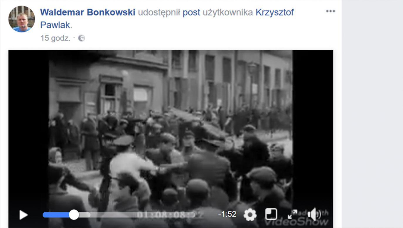 Senator zamieścił w mediach społecznościowych nagranie zmontowane z niemieckich nazistowskich materiałów propagandowych. (fot. FB/WaldemarBonkowski)