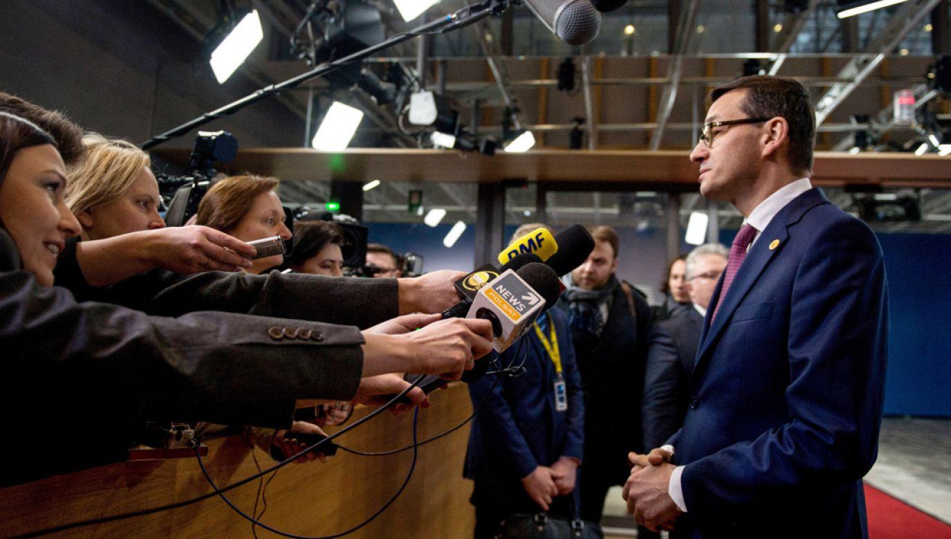 Premiera Mazowieckiego pytano o karę nałożoną przez KRRiT na spółkę TVN (fot. PAP/Marcin Obara)