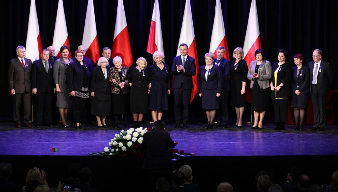 Prezydent Andrzej Duda spotkał się z przedstawicielami Polaków mieszkającymi na Litwie (fot. PAP/Leszek Szymański)