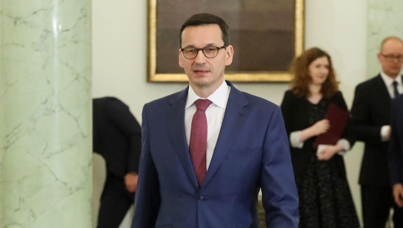 Prezydent Andrzej Duda desygnował w piątek Mateusza Morawieckiego (C) na Prezesa Rady Ministrów (fot. PAP/Paweł Supernak)