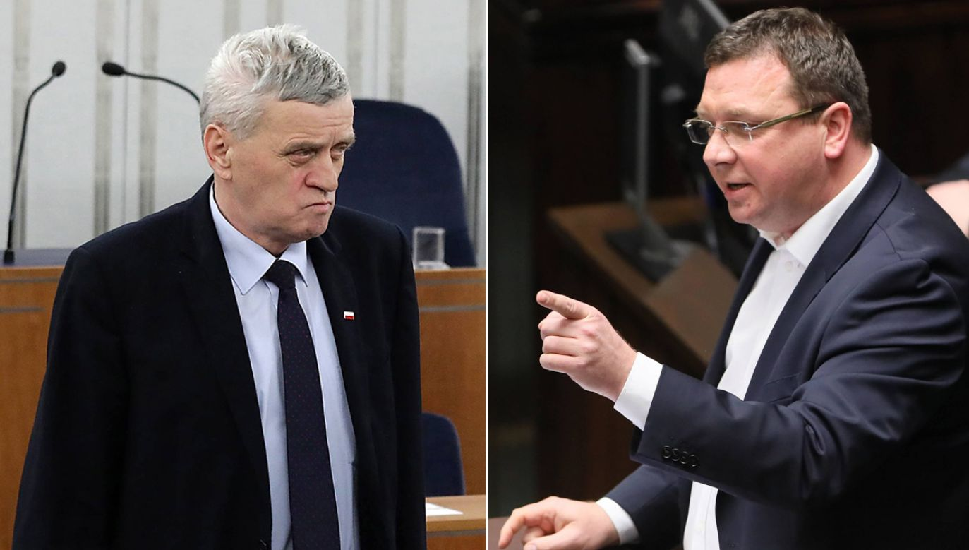 Senator Stanisław Kogut, wiceminister sprawiedliwości Michał Wójcik (fot. PAP/Tomasz Gzell/ PAP/Paweł Supernak)