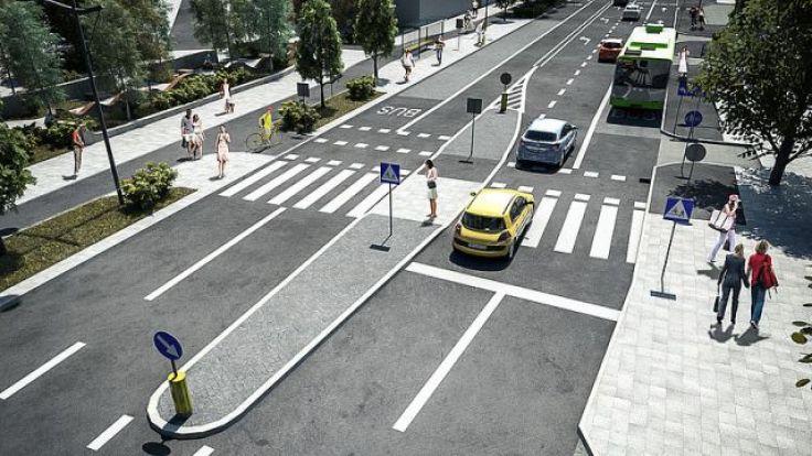 Ulica Partyzantów po przebudowie nie będzie szersza niż obecna jezdnia (fot. olsztyn.eu)