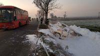 W zderzeniu busa z autubusem ucierpiało osiem osób (fot. KP PSP w Świeciu)