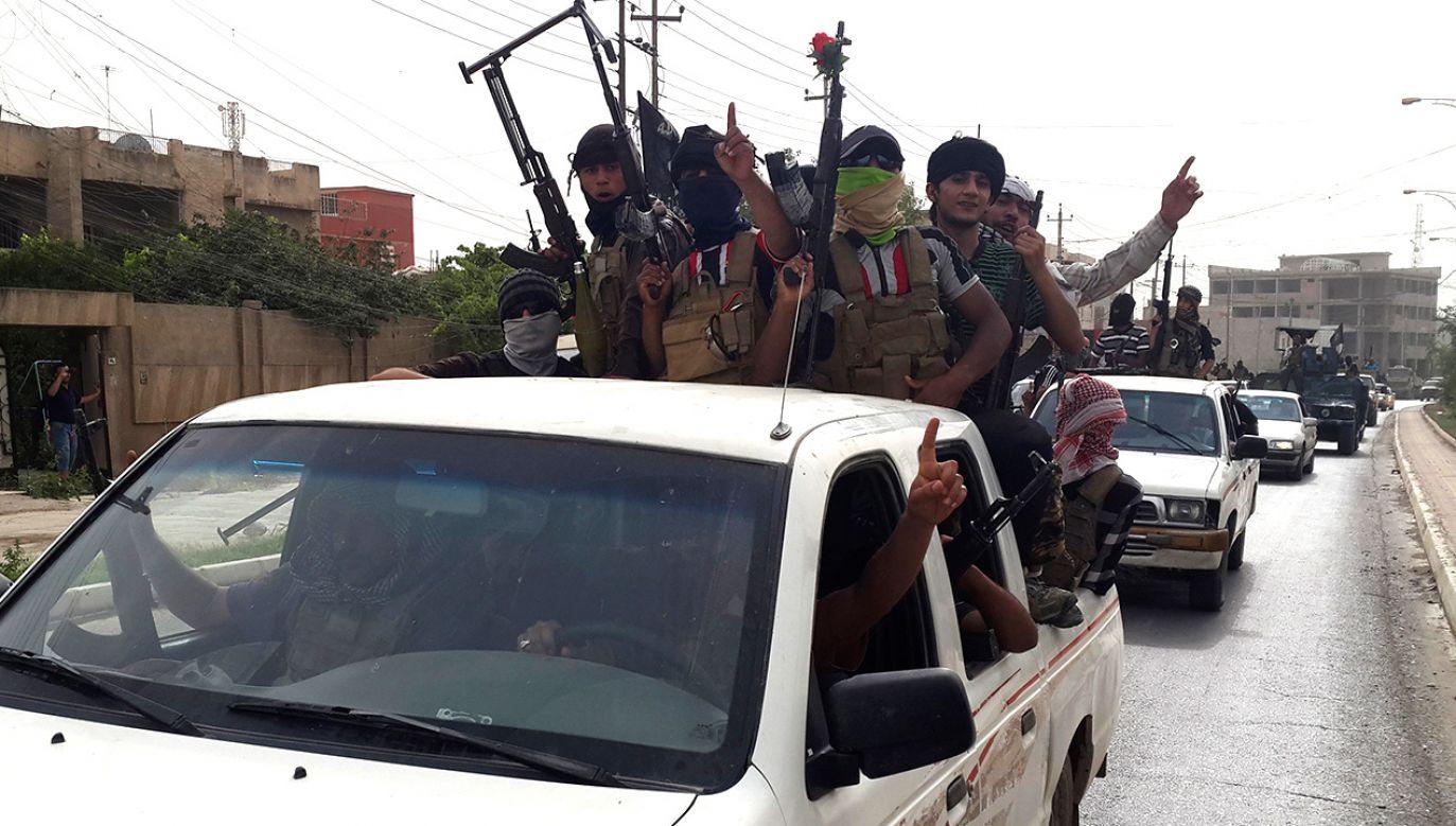 Bojownicy Państwa islamskiego w samochodach odebranych irackim siłom porządkowym (fot. REUTERS/Stringer)