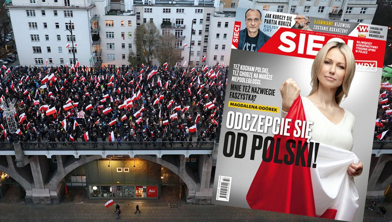 Magdalena Ogórek broni uczestników Marszu Niepodległości (fot. PAP/Bartłomiej Zborowski)