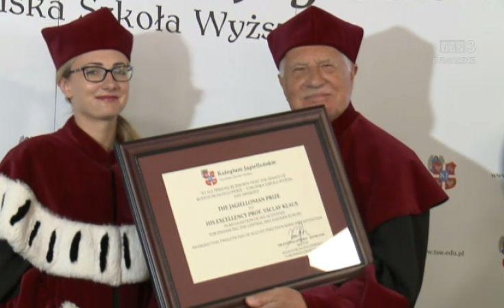 Vaclav Klaus z Nagrodą Jagiellońską
