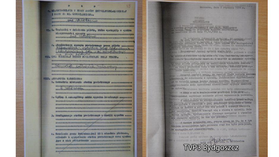 Komisja Badania Wypadków Lotniczych o braku niedociągnięć w pracy służby inżynieryjno-lotniczej, a także stwierdzenie, że pilot niewłaściciwe eksploatował samolot.  Po prawej opinia generała lejtnanta ZSRR Borysa Kabiszewa o wypadku w Giebni. Generał sugeruje, że winę za katastrofę ponosi pilot.