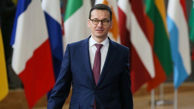 Premier Mateusz Morawiecki podczas szczytu w Brukseli (fot. PAP/EPA/STEPHANIE LECOCQ)