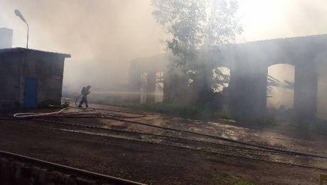 Pożar na terenie PKP w Olsztynie