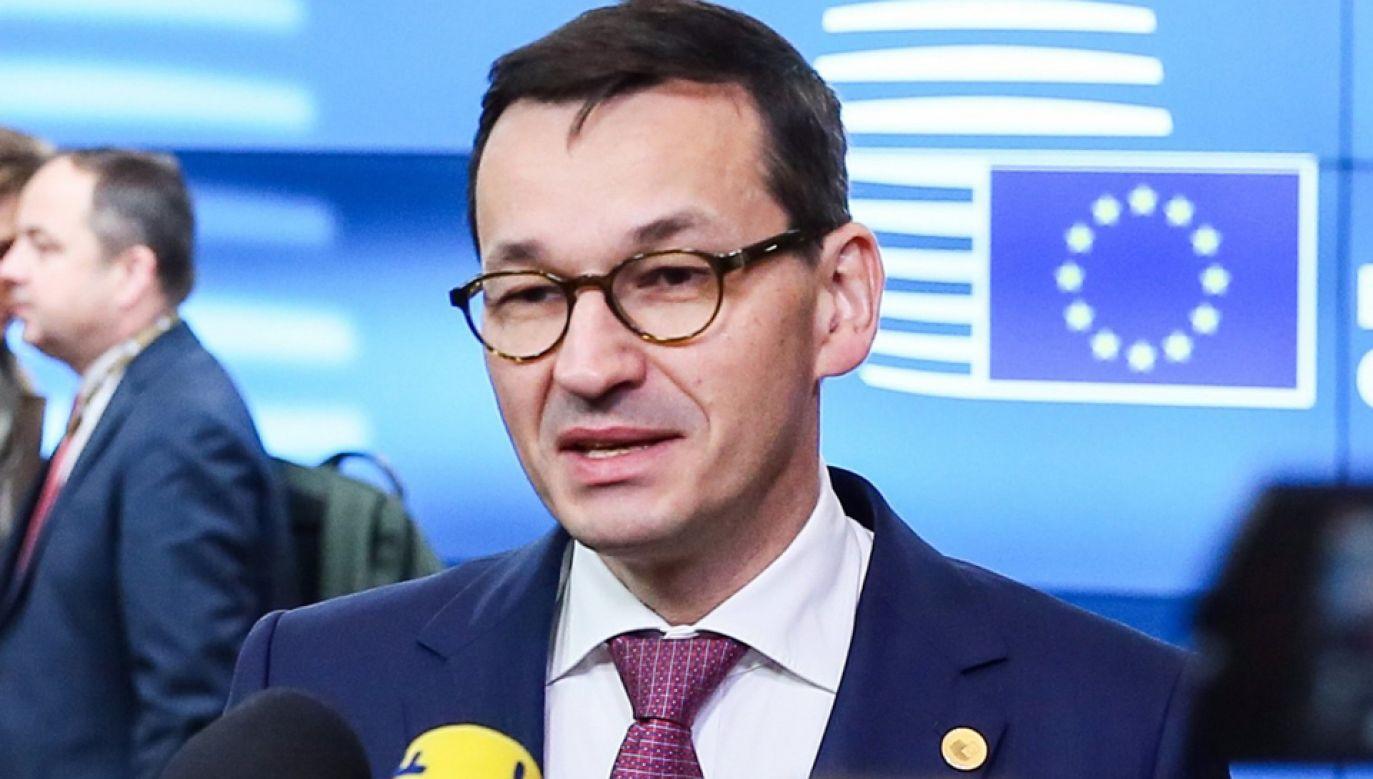 Premier Mateusz Morawiecki w Brukseli  (fot. EPA/STEPHANIE LECOCQ )