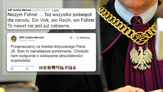 Wiceprezes stowarzyszenia sędziów porównał Kaczyńskiego do Hitlera. Teraz przeprasza