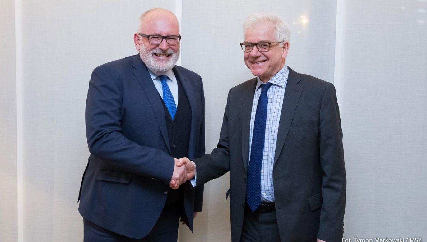 Wiceprzewodniczący Komisji Europejskiej Frans Timmermans i szef polskiego MSZ Jacek Czaputowicz (fot. tt/@MSZ_RP)
