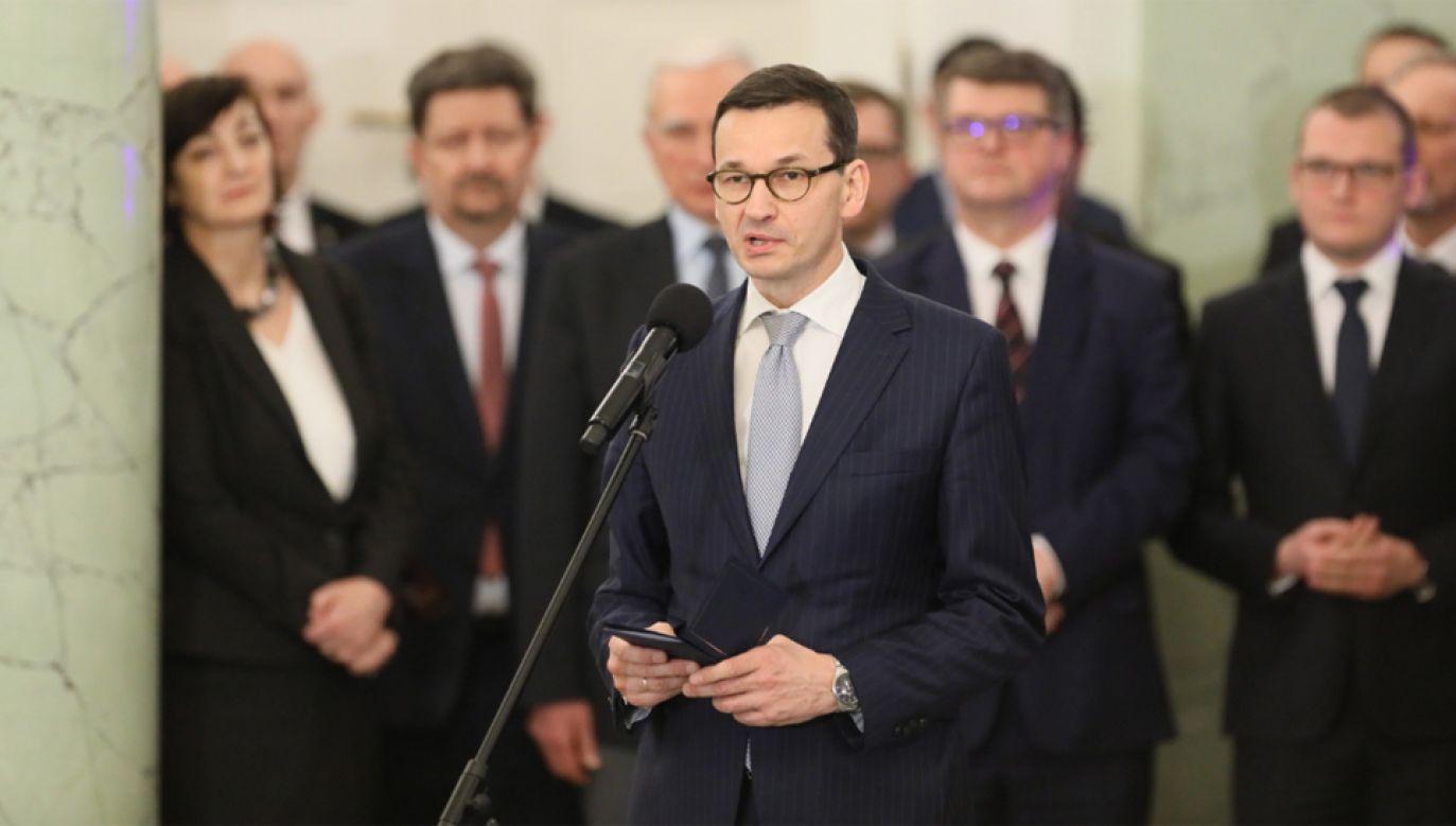 Premier Mateusz Morawiecki po powołaniu go na stanowisko prezesa Rady Ministrów (fot  PAP/Paweł Supernak)