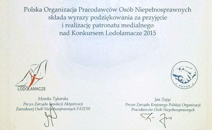 Podziękowanie dla TVP Warszawa od Polskiej Organizacji Pracodawców Osób Niepełnosprawnych