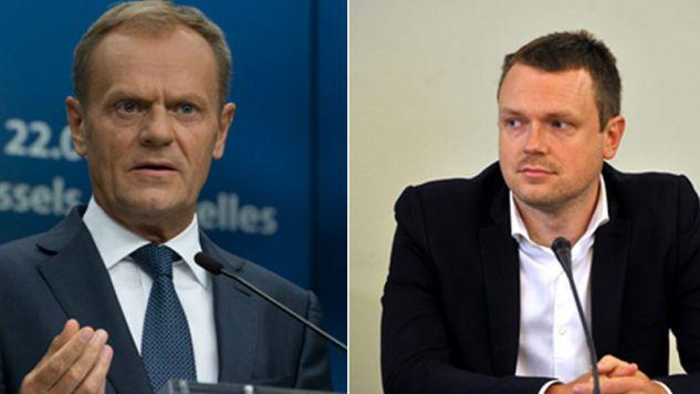 Donald i Michał Tusk (fot. PAP/EPA/EPA/EMANUEL DUNAND i PAP/Marcin Obara)