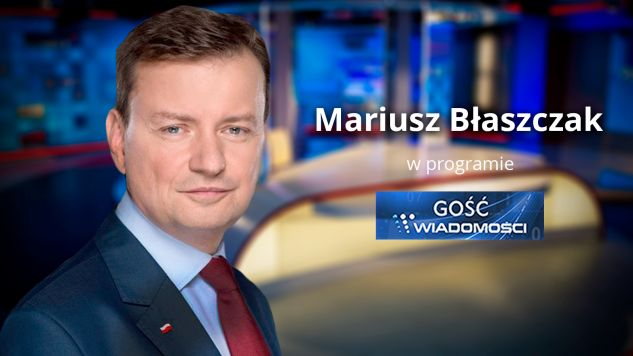 """Mariusz Błaszczak wystąpi w programie """"Gość Wiadomości"""" (fot. TVP info)"""