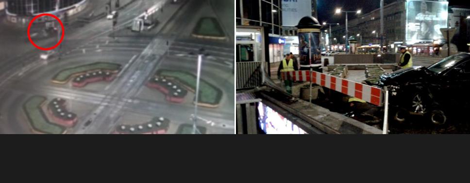 Izabella C. rok temu pijana wjechała samochodem do przejścia podziemnego w centrum Warszawy (fot. TVP Info)