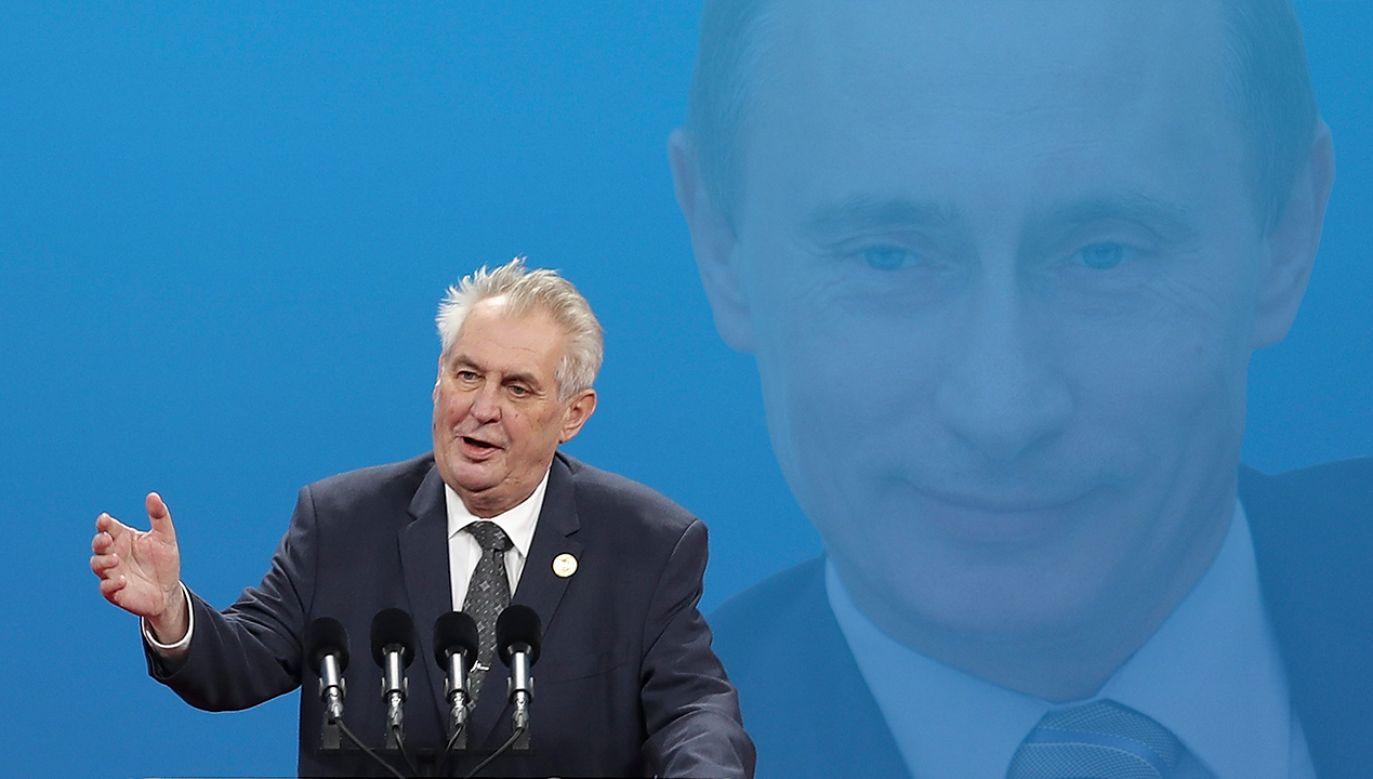 Prezydent Czech wyraził poparcie dla budowy gazociągu Nord Stream 2 (fot. REUTERS/Alexander Zemlianichenko/POOL/Lintao Zhang/Pool/Getty Images)