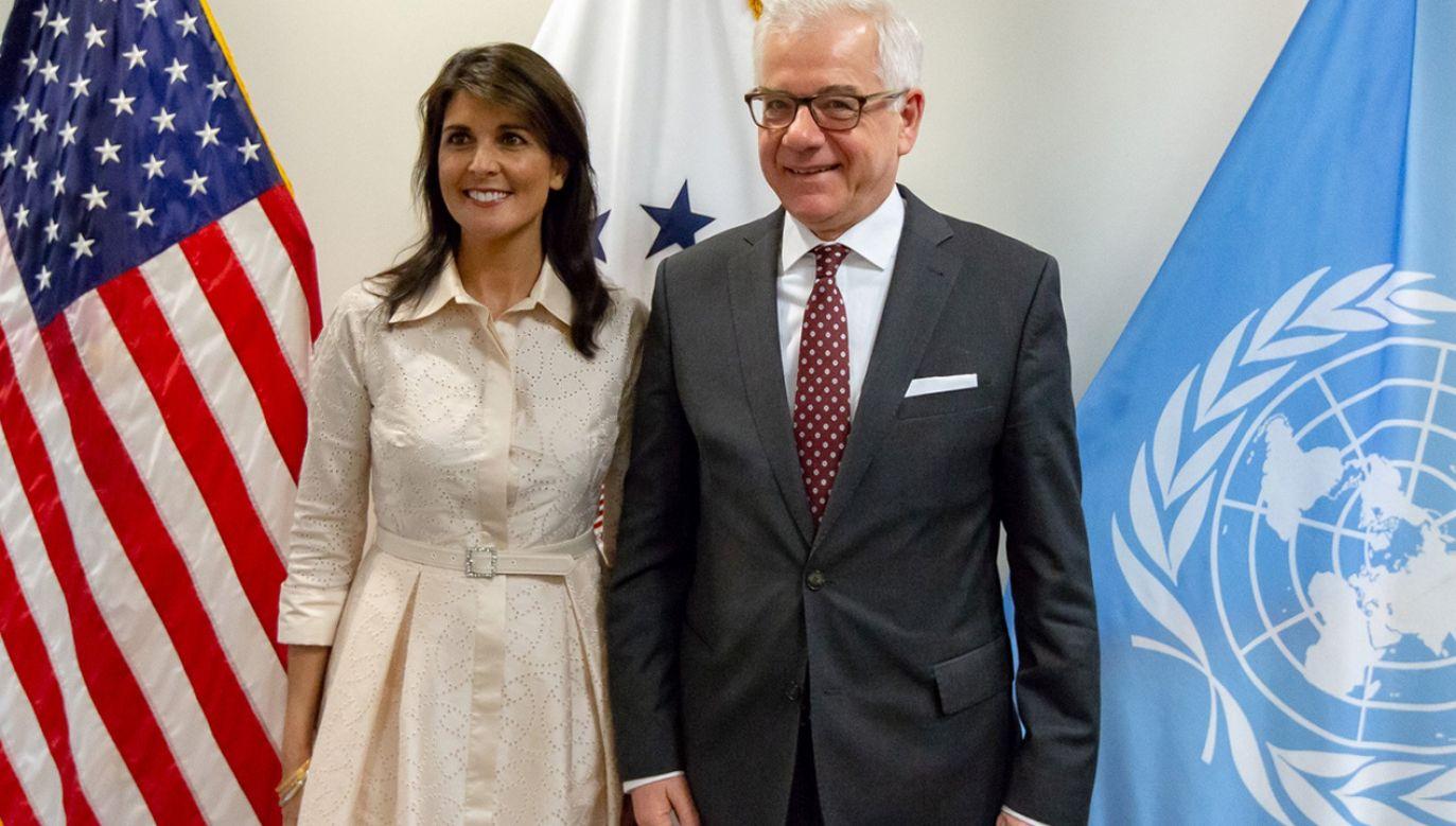 Nikki Haley (ambasador USA przy ONZ) i Jacek Czaputowicz (fot. tt/@MSZ_RP)
