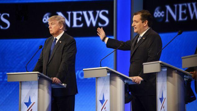 Donald Trump i Ted Cruz walczą o nominację republikanów (fot. Flickr/DisneyABC)